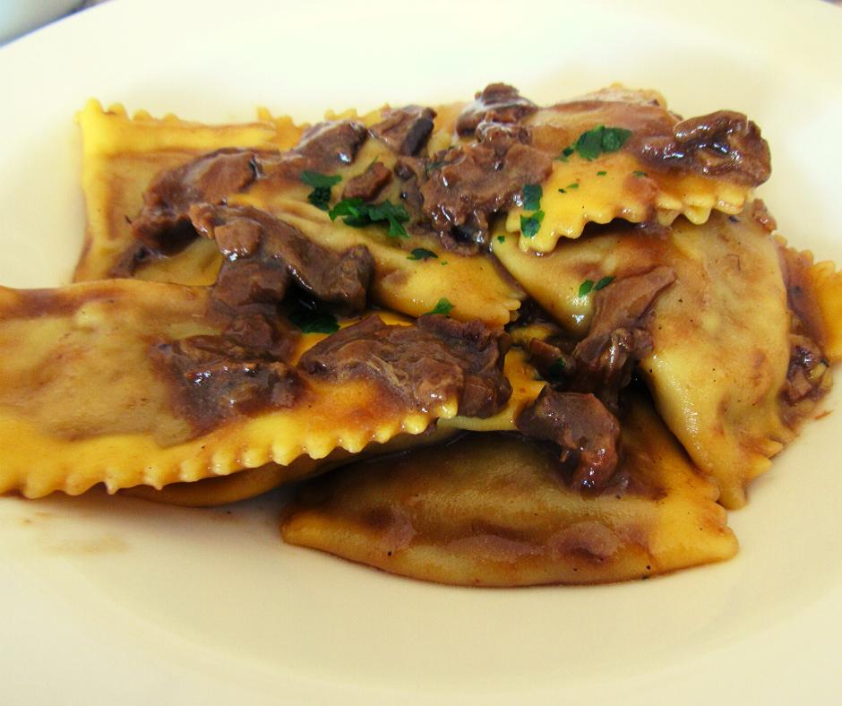 foto ingredienti Tortelli di zucca con funghi porcini